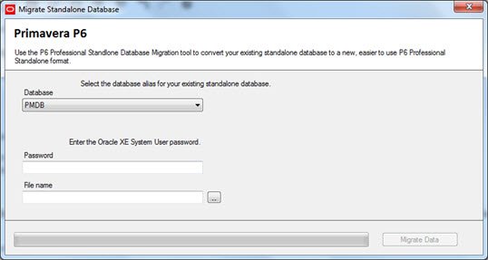 p6 standalone database migration tool